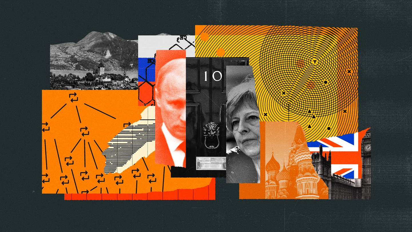 A collage of images, including Vladimir Putin, Theresa May, the door to 10 Downing Street, and British and Russian parliamentary sites.