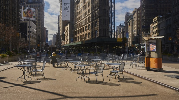 Empty outdoor tables near Madison Square Park, in Manhattan