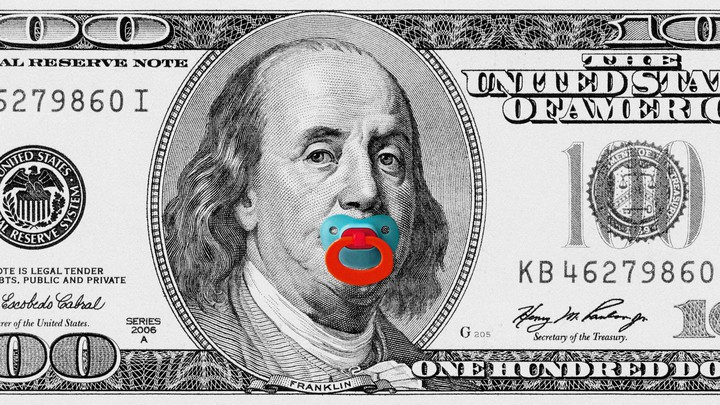 Art of a $100 bill with a pacifier in Benjamin Franklin's mouth