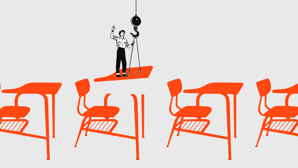 An illustration of a construction site building desks for classrooms.