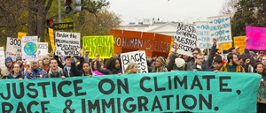 Photo of a climate-justice march near the White House.