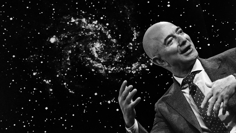 A composite image featuring a picture of Jeff Bezos against a backdrop of stars