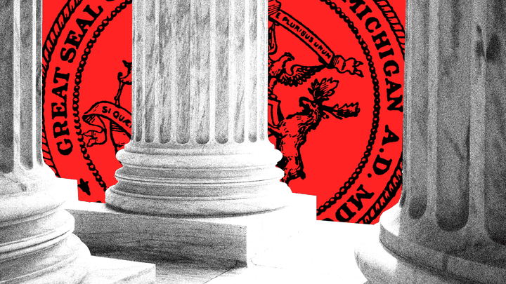 An illustration of the Supreme Court columns with Michigan's state seal behind them