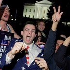 Trump supporters celebrate at the White House