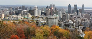 Montreal skyline from top of Mount Royal on a fall afternoon