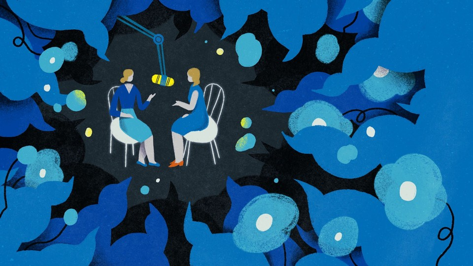 An illustration of two blonde women dressed in blue sitting on chairs with a microphone hanging between them. The background is black, and blue flowery shapes and squiggles that look like speech bubbles surround them