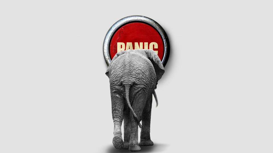 An illustration of an elephant walking into a panic button