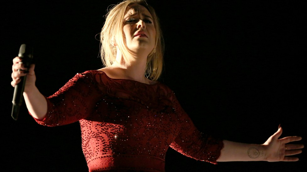 Adele performs at the 2016 Grammys