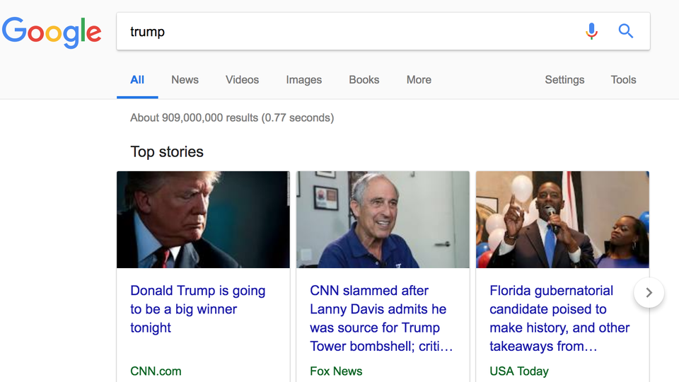 """Screenshot of a Google search for """"trump"""""""