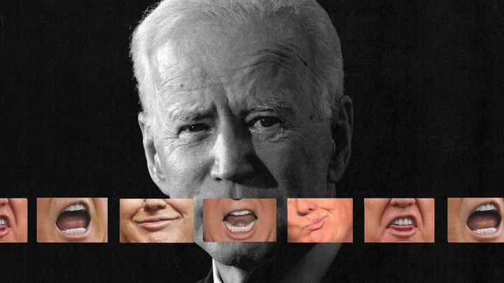 A photo illustration of images of Trump's mouth superimposed over Biden's face