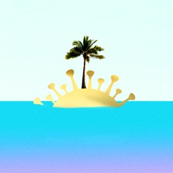 An illustration shows a tropical island. The sand resembles the coronavirus. The island has a palm tree in the middle of it.