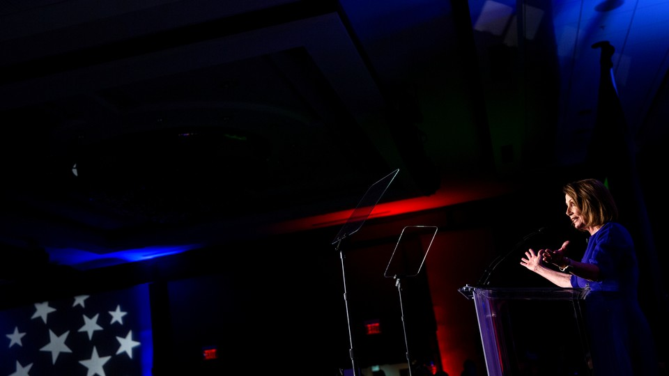 Nancy Pelosi speaks at the House Democratic Watch Party on Tuesday