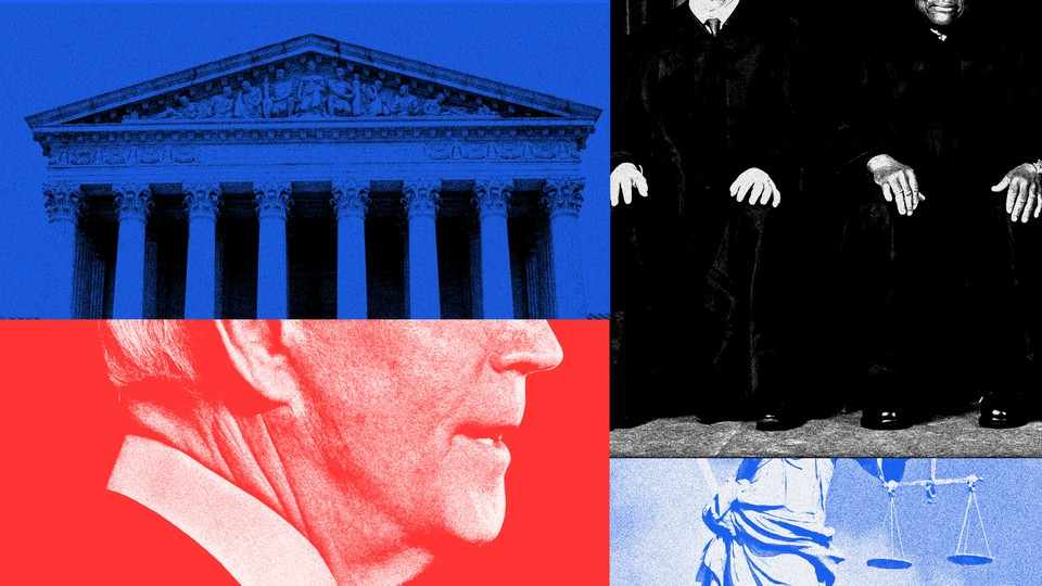 President Joe Biden, the Supreme Court building, and justices