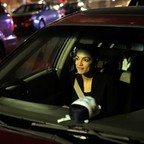 A photo of Democratic Congressional candidate Alexandria Ocasio-Cortez in a car in October 2018