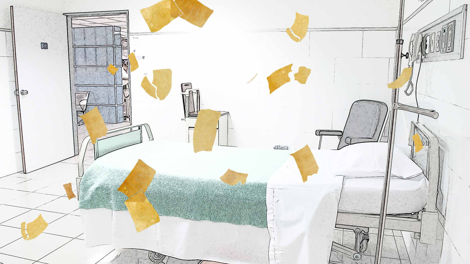 Papers fly around a hospital bed.