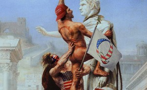 Illustration of Joseph-Noël Sylvestre painting of the sack of Rome with Trump and Q paraphernalia