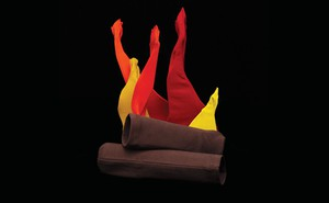 Illustration: photo of red, orange, yellow, brown leggings in shape of two logs on fire