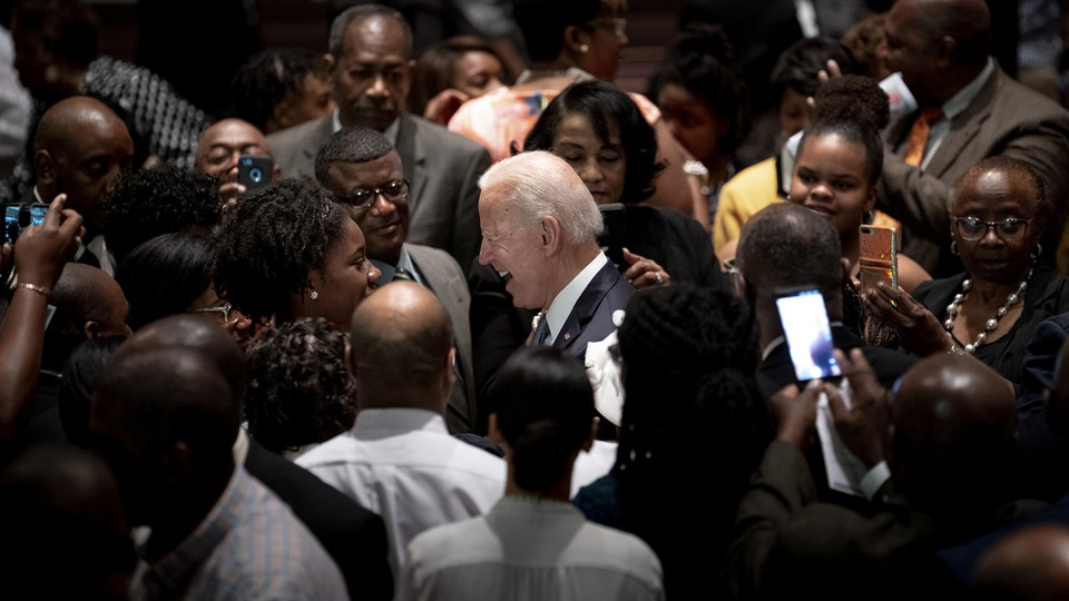 President-elect Joe Biden greets congregants after a church service in West Columbia, S.C., May 4, 2019