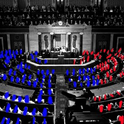 A visual representation of a Democratic House and Senate majority, using an image from a past State of the Union address