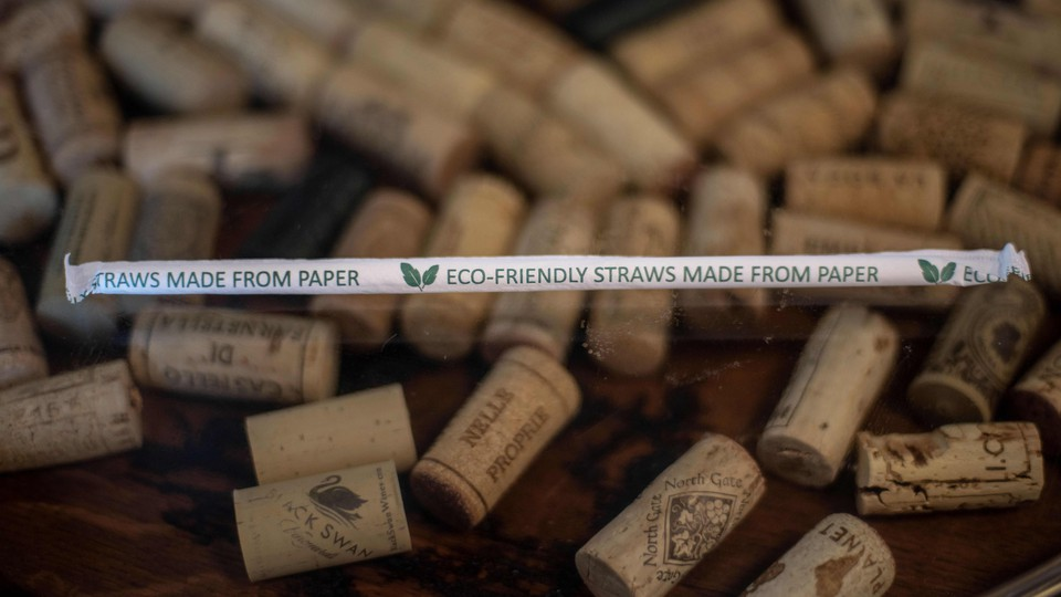 Paper straw against cork