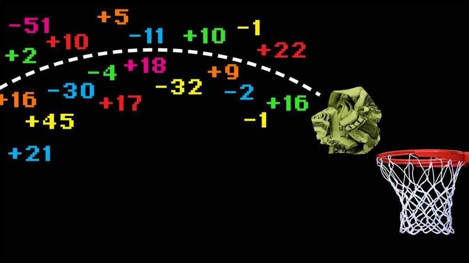 Illustration of a crumpled up dollar bill arcing toward at a basketball hoop. Multicolored numbers surround a dotted line of its trajectory.