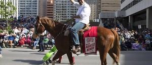 Calgary Mayor Naheed Nenshi during the 101st Calgary Stampede parade.