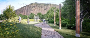 Rendering of a public garden with a pathway and large sculpture.
