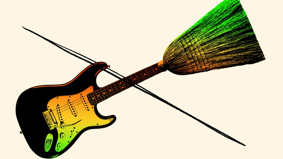 An illustration of a guitar whose neck becomes a broom at the top end