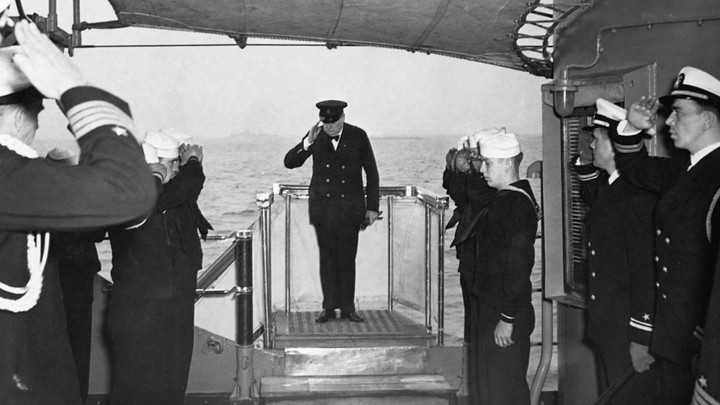 Sailors with Winston Churchill in 1941.
