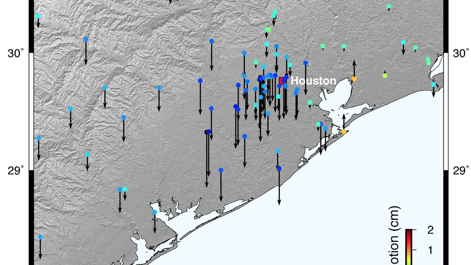 A map of the vertical motion of the Earth's crust in Texas