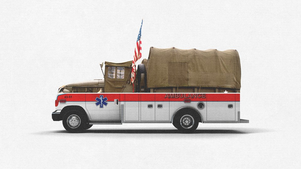 A truck with an ambulance bottom and a military-vehicle top