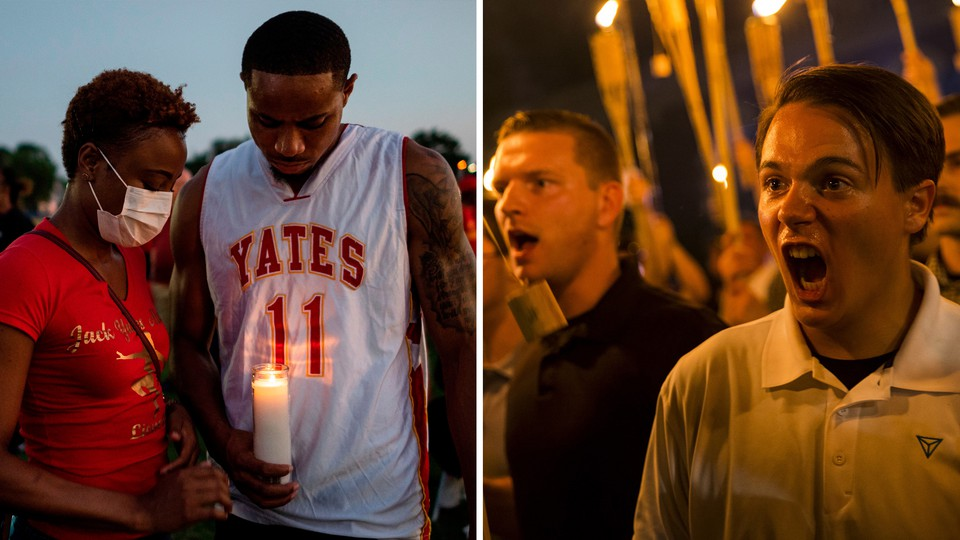 Left: A vigil for George Floyd. Right: The Unite the Right rally.