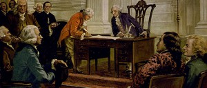 A 1925 painting depicts George Washington, Benjamin Franklin and others signing the U.S. Constitution.