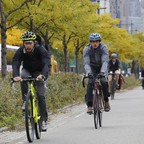 A photo of bicyclists along the Hudson River Park bike path in New York City