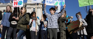 Children demonstrating over climate change in central London.