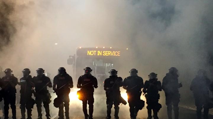 Riot police in Charlotte