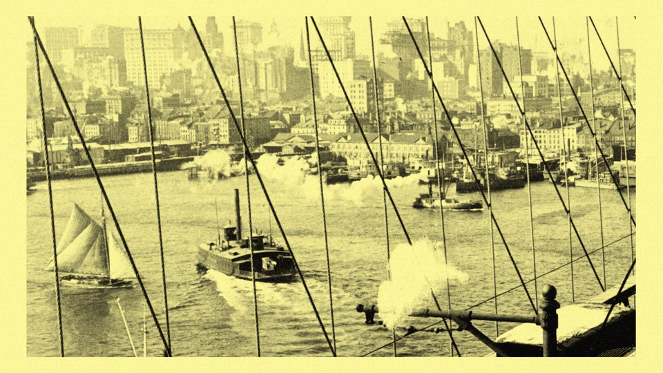Sailboats and tugboats in New York Harbor in the early 20th century