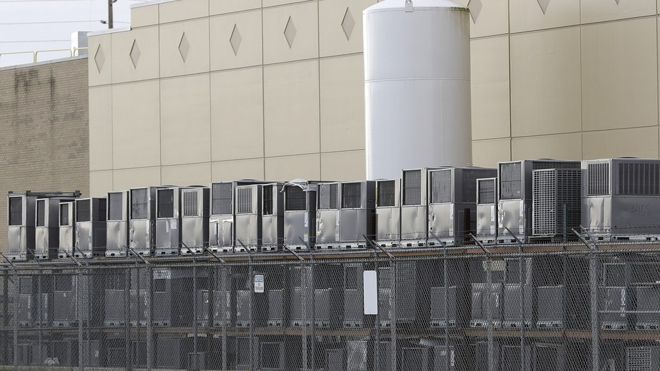 Air conditioners stacked outside a Carrier factory in Indianapolis, Indiana