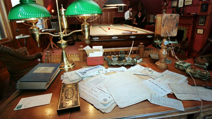 Mark Twain's desk at his home in Hartford, Connecticut, including his telephone