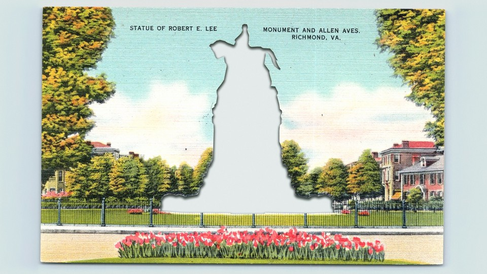 An illustration of a postcard with Robert E. Lee's statue cut out