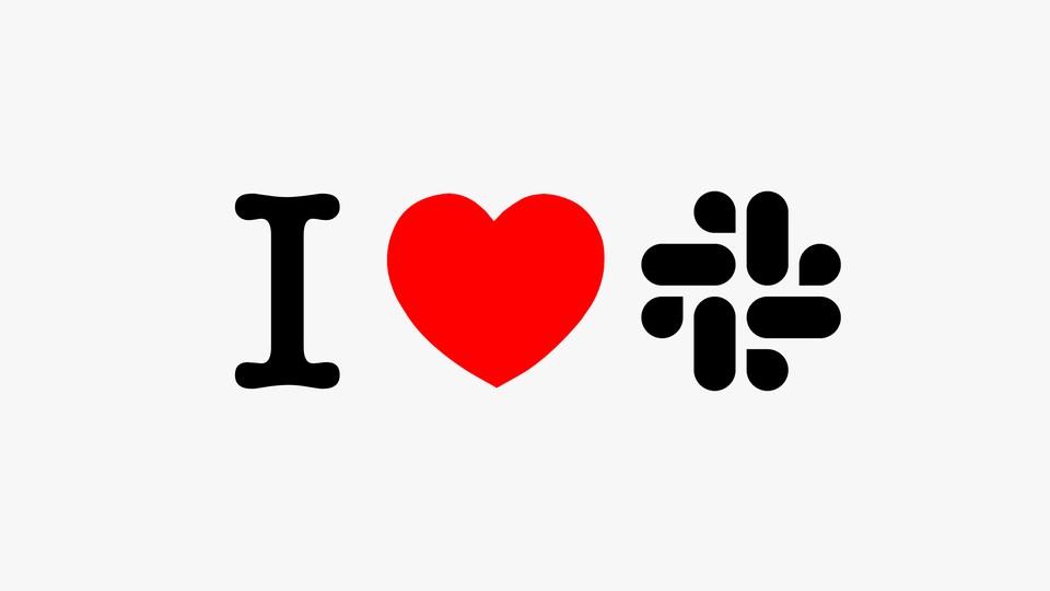"""A pictogram saying """"I love slack"""""""