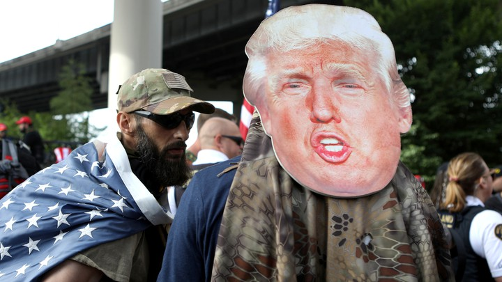 Demonstrators at the Portland rally
