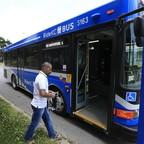photo: A man boards a bus in Kansas City, Missouri.