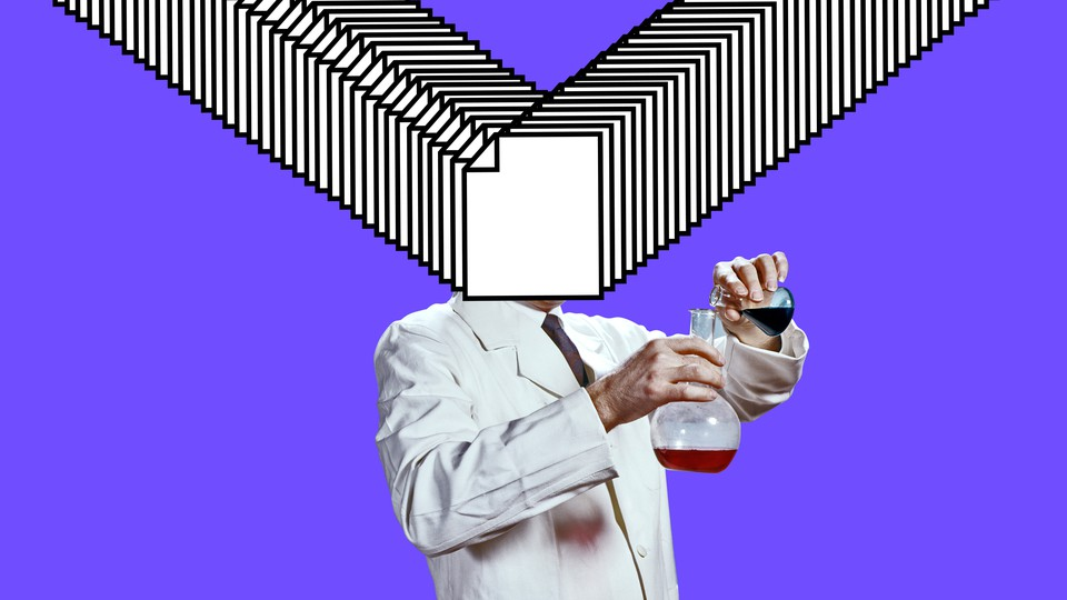 A scientist holds two beakers; computer-file icons obscure and explode from his head.