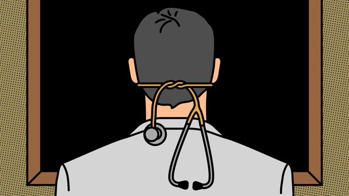 An illustration of a doctor with a stethoscope tied around his head