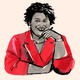 Illustration of Stacey Abrams wearing a red blazer