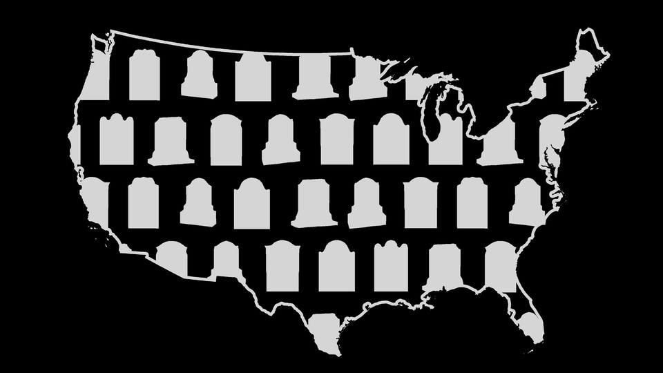 Illustration of a map of the U.S. and tombstones.