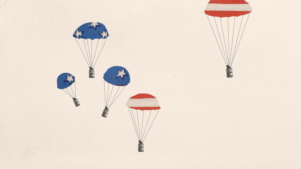 Illustration of parachutes with vaccine vials