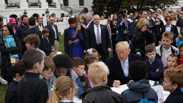 President Trump at the 2018 White House Easter Egg roll