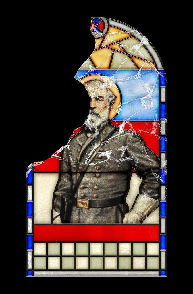 Illustration: Broken stained-glass window of Robert E. Lee in uniform